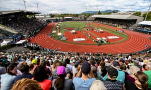 Fans watching the USA track and field Olympic trials at Hayward Field in Eugene, Oregon, in July 2016