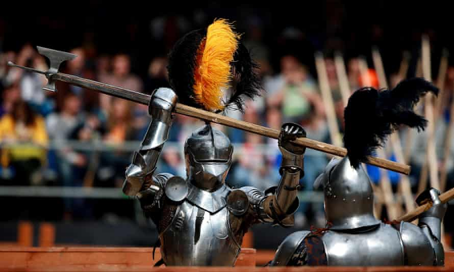 """Two knights duel at the """"Tournament of St. George"""" in Moscow, Russia"""