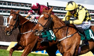 Davy Russell rode Samcro (left) to victory over Melon in a stirring finish at the Cheltenham Festival.