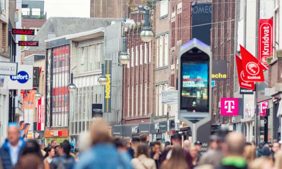 A city-centre shopping street in Eindhoven.
