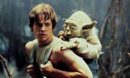 Luke Skywalker and Yoda during The Empire Strikes Back's training sequence on Dagobah.