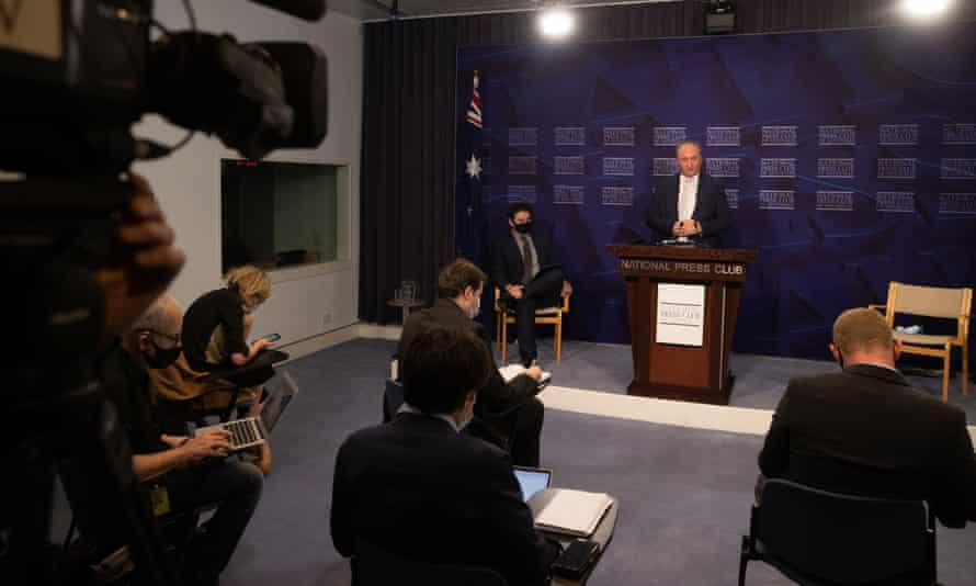 Deputy PM Barnaby Joyce at a press club address held for the first time due to covid restrictions in the blue room of Parliament House