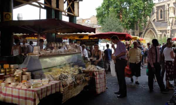 A cheese stall at Borough Market.