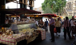 A cheese stall at Borough Market.