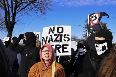 Members of the Great Lakes anti-fascist organization (antifa) protest in Warren, Michigan.