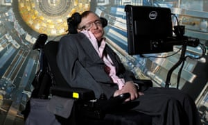 "Professor Stephen Hawking at the Science Museum, London, for the opening of the exhibition ""Collider""."
