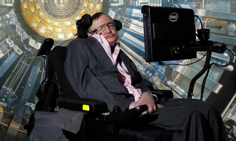 """Professor Stephen Hawking at the Science Museum, London, for the opening of the exhibition """"Collider""""."""