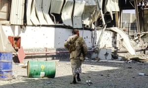 A soldier walks in Hodeidah