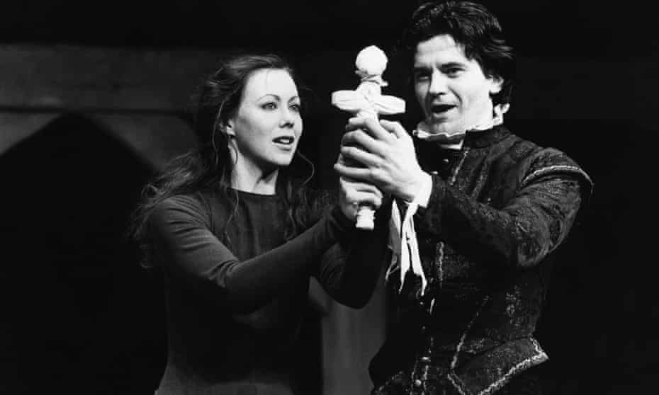 Jenny Agutter (Alice) and Robert O'Mahoney (Mosby) in Arden of Faversham, presented by the Royal Shakespeare Company in 1982.