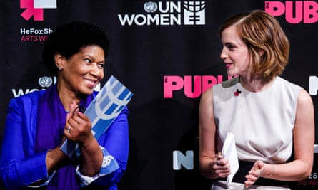 Phumzile Mlambo-Ngcuka, left, the head of UN Women, with the actor Emma Watson in New York