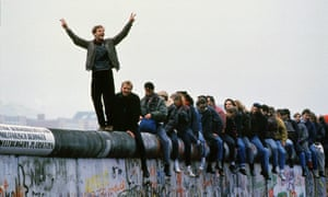 West Germans celebrate the fall of the Berlin wall, November 1989