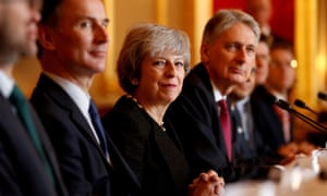 Theresa May with members of her cabinet.