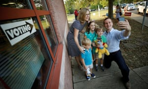 Dan McCready outside a polling station in Charlotte, North Carolina