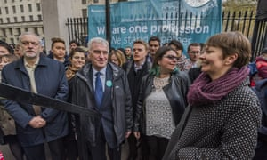 Jeremy Corbyn and John McDonnell march alongside Caroline Lucas in support of striking doctors.