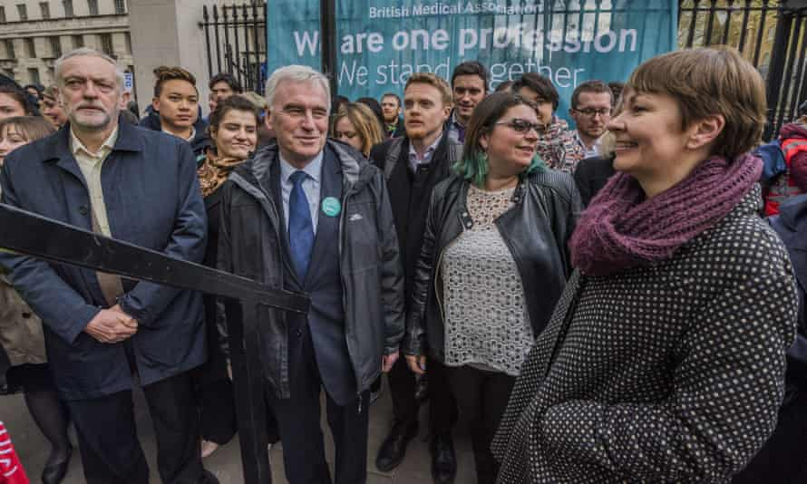 John McDonnell, second from left, and Caroline Lucas, right
