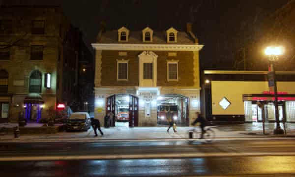 Fire station in upper Northwest at night, Washington DC, February 2014
