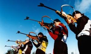 Taking aim: biathlon athletes get some target practice in.