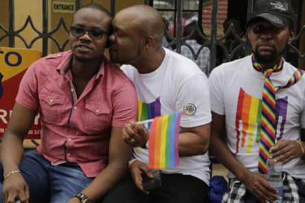LGBT activists and their supporters outside court in Nairobi on Friday morning, before the ruling.