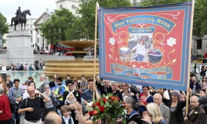 The trade union-style banner in memory of Jo Cox.