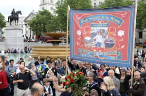A banner for 'Our Yorkshire Rose' in Trafalgar Square