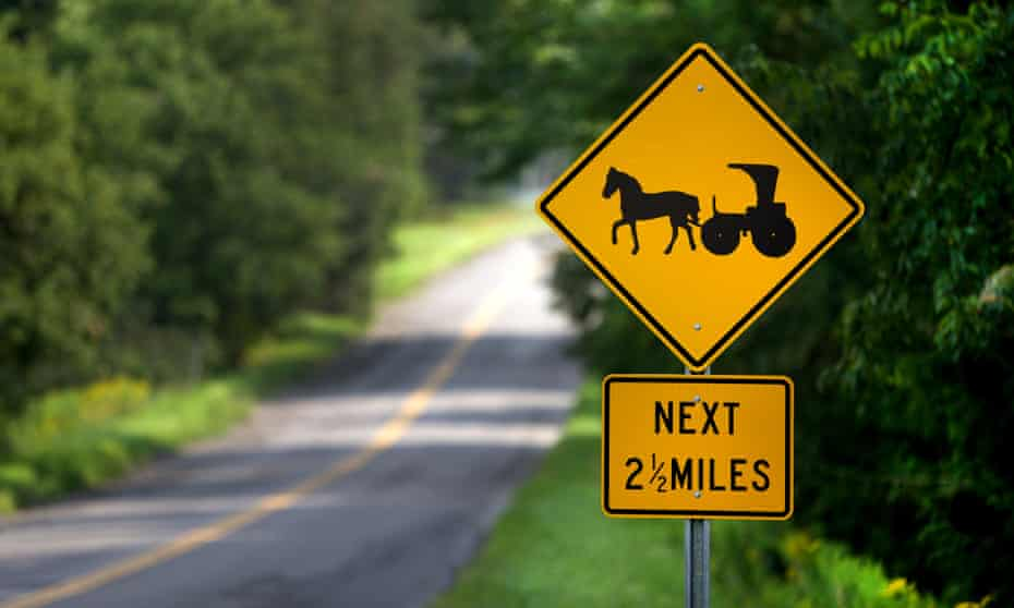 Road sign of horse and cart