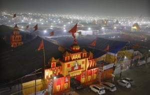 A thick layer of dust is seen over the tent city set up for the Kumbh Mela in Prayagraj, India, on Monday.