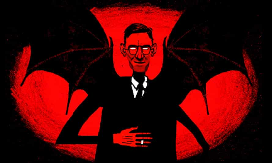 Illustration of Jacob Rees-Mogg with giant bat wings by David Foldvari.