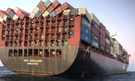 Surgical masks wash up on Sydney beaches after 40 containers fall off cargo ship