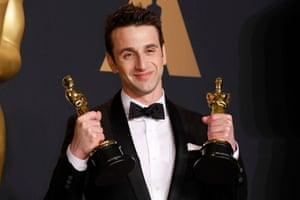 Justin Hurwitz holds the Oscars for best original score and best original song.