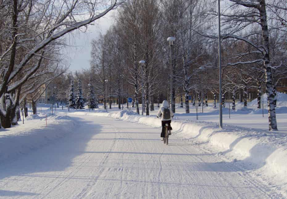 Cycling in the snow in Joensuu, which hosted the 2020 Winter Cycling Congress.
