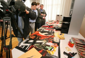 Confiscated material from a far right extremist group on display at a press conference held by Brandenburg's Ministry of the Interior in 2011.