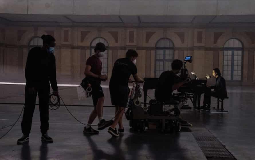 Nick Cave and camera crew at Alexandra Palace.