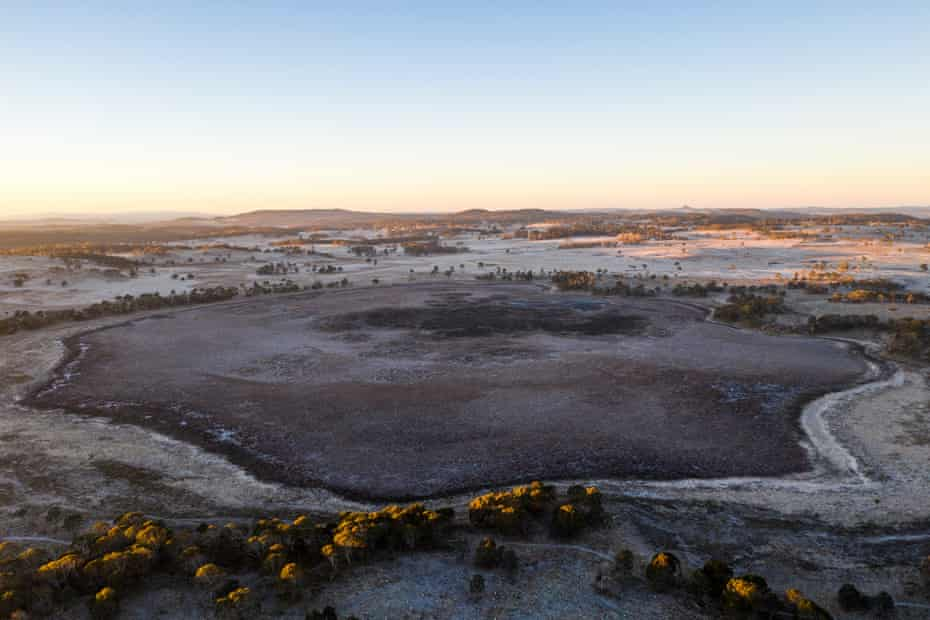 Frost covers the now empty Little Llangothlin lagoon