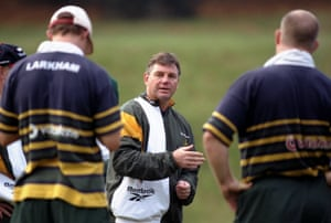 Rod Macqueen, the coach of the Australia rugby team, in 1998, during a training session in Bagshot, England.