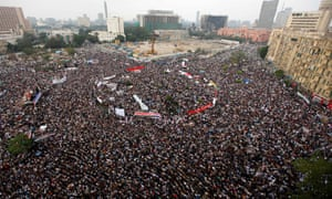 Egyptian protesters gather in Tahrir Square, Cairo, in November 2011