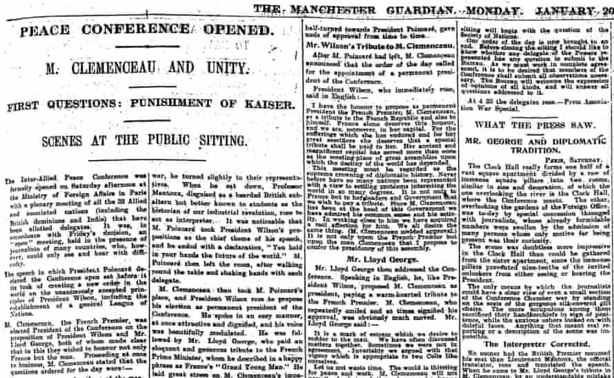 The Guardian, 20 January 1919.