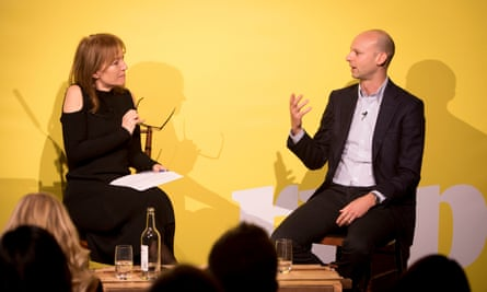 Guardian and Aldermore event, The Disruptors. Held at The Bike Shed in Shoreditch, east London. 1 February 2018. (l-r) Chair Rita Clifton and Adam Lauffer, CFO of Doddle