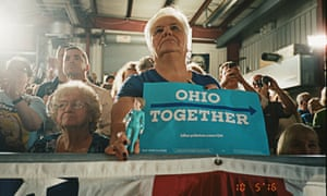 A Hillary Clinton supporter photographed at the Ironworkers Local union in Canton, Ohio, while former President Bill Clinton campaigns for his wife