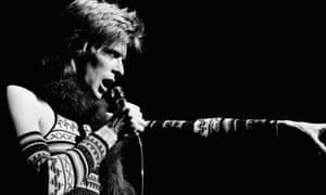 David Bowie performing as Ziggy Stardust at Radio City Music Hall in February 1973