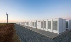 The Tesla Powerpacks in Hornsdale, Australia