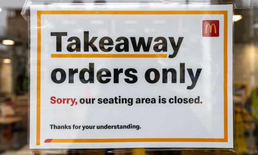McDonald's restaurants had been serving takeaways and deliveries but will shut from 7pm on Monday.