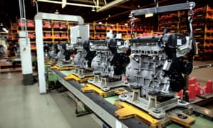 Ford engines being built on the production line at their Bridgend Factory, South Wales.
