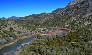 A 2015 photo provided by Cynthia Meachum shows an areal view of the area of a search of treasure hunter Randy Bilyeu, who went missing along Rio Grande in northern New Mexico.