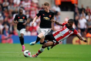 Kevin Danso makes his ill-conceived challenge on Scott McTominay.