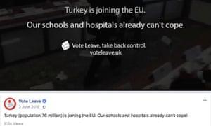 """One of Vote Leave's Facebook """"dark posts"""" uncovered last week."""