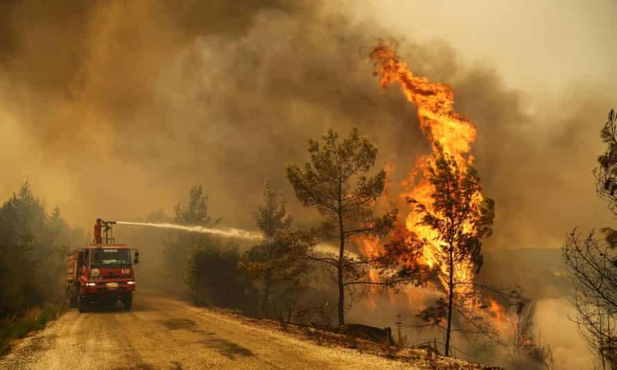 A wildfire on the southern Turkish coast near Manavgat, Antalya province.