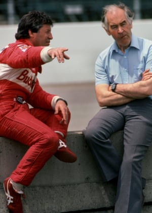Mario Andretti, speaking with Eric Broadley during a break in practice for the Indianapolis 500 in 1993.