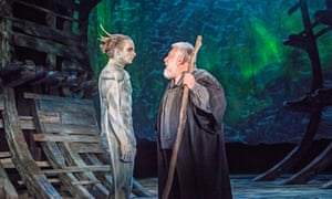 Mark Quartley (Ariel) and Simon Russell Beale (Prospero) in The Tempest