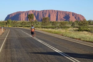 Indigenous activist Clinton Pryor arrives at Uluru