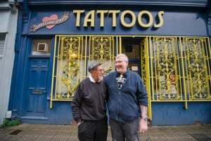 Doc Price with his son Bill outside their tattoo studio in Plymouth.